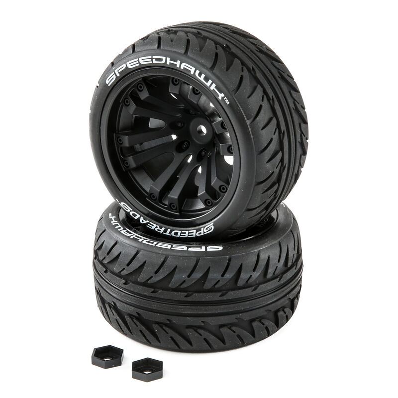 SpeedTreads Speedhawk Tires Mounted (2):  1/10 Stadium/Monster Truck