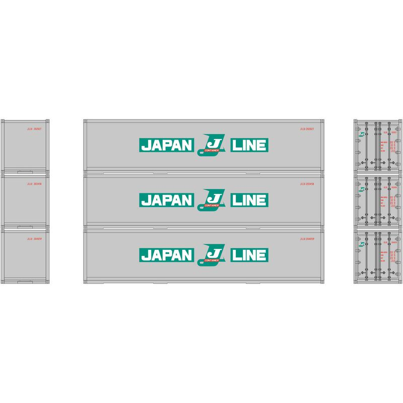 HO RTR 40' Smooth Side Container Japan Line (3)