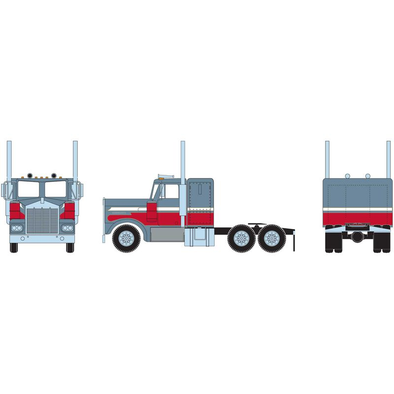HO RTR KW Tractor, Metallic Blue & Red