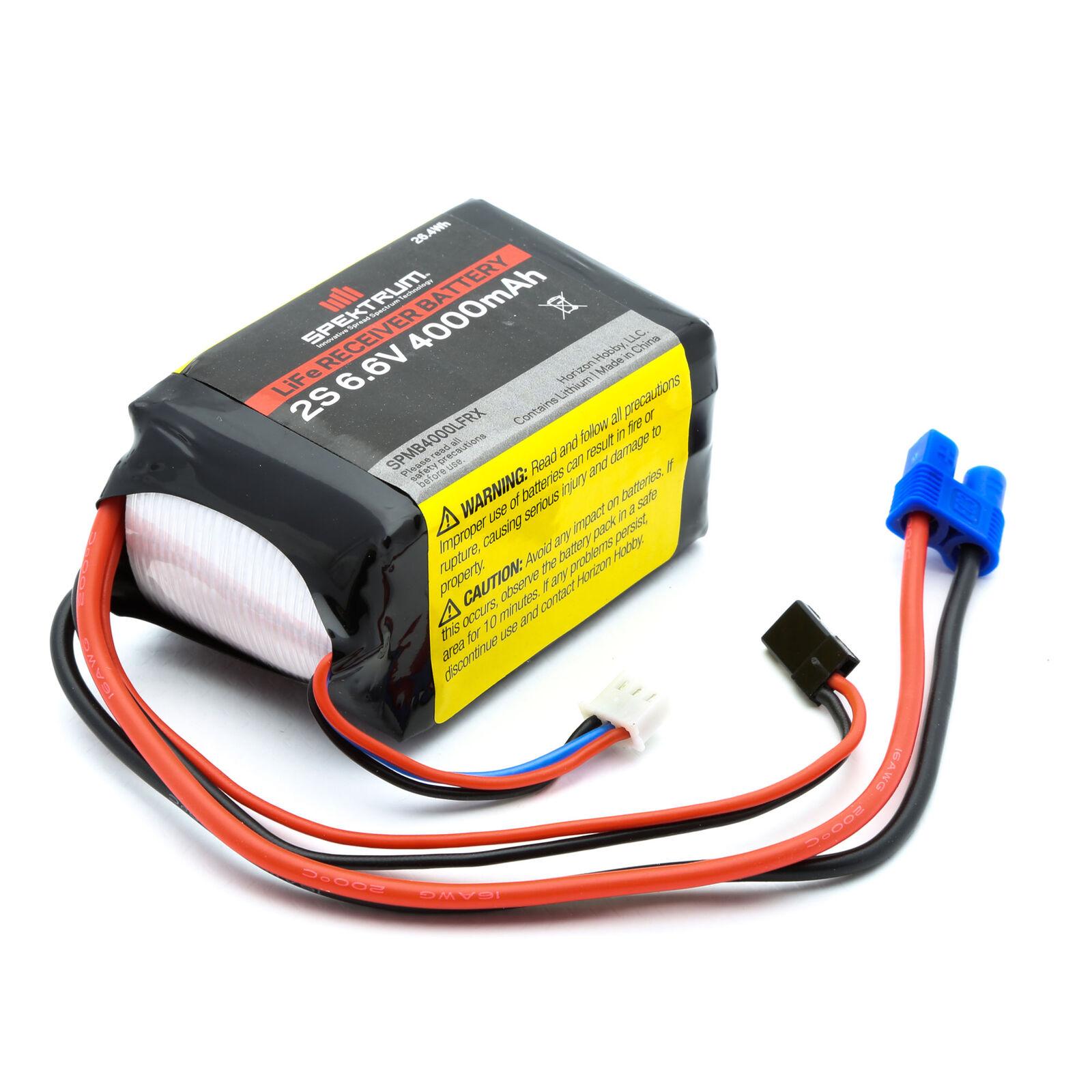 6.6V 4000mAh 2S LiFe Receiver Battery: Universal Receiver, EC3