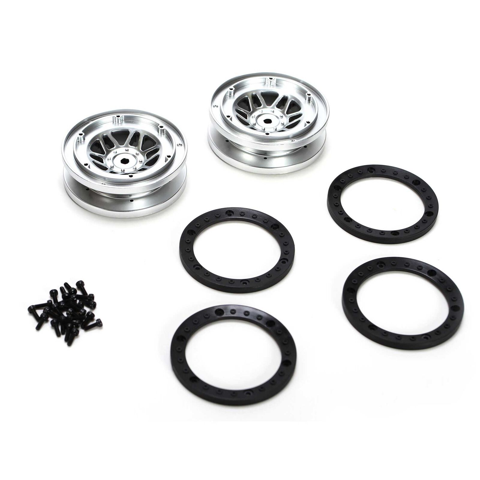 1/10 Front/Rear 1.9 Beadlock Wheels with Rings (2): Twin Hammers