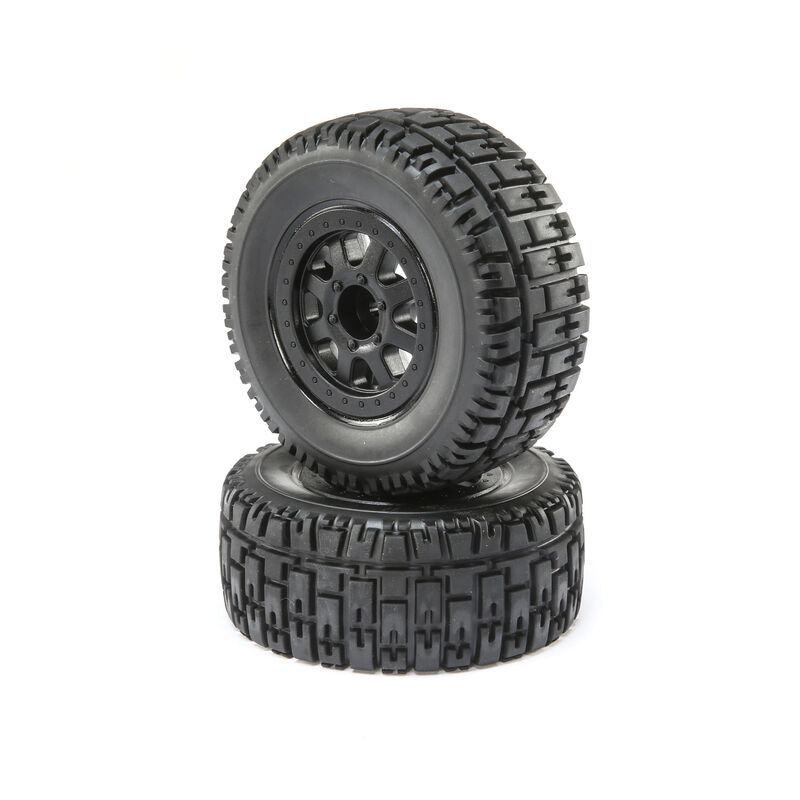 Front and Rear Wheel with Premounted Tire, Black (2): 1/10 2WD 4WD Torment
