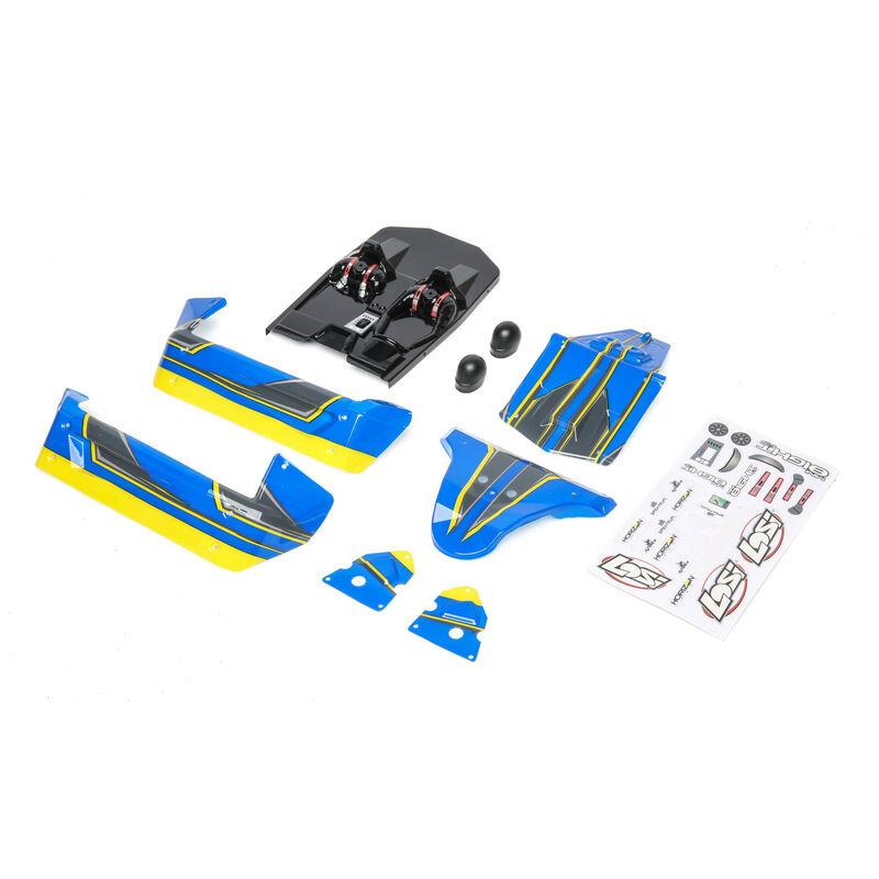 1/14 Painted Body Set, Blue/Yellow: Mini 8IGHT-DB