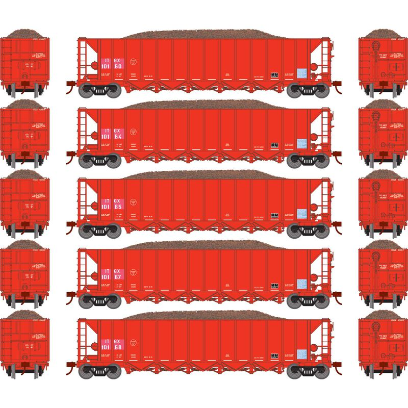 HO RTR 5-Bay Rapid Discharge Hopper ITGX Red (5)