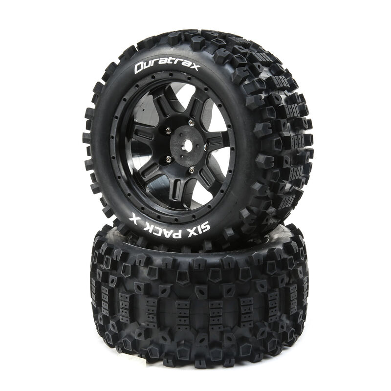 Six Pack X Belted Mounted Tires, 24mm Black (2)