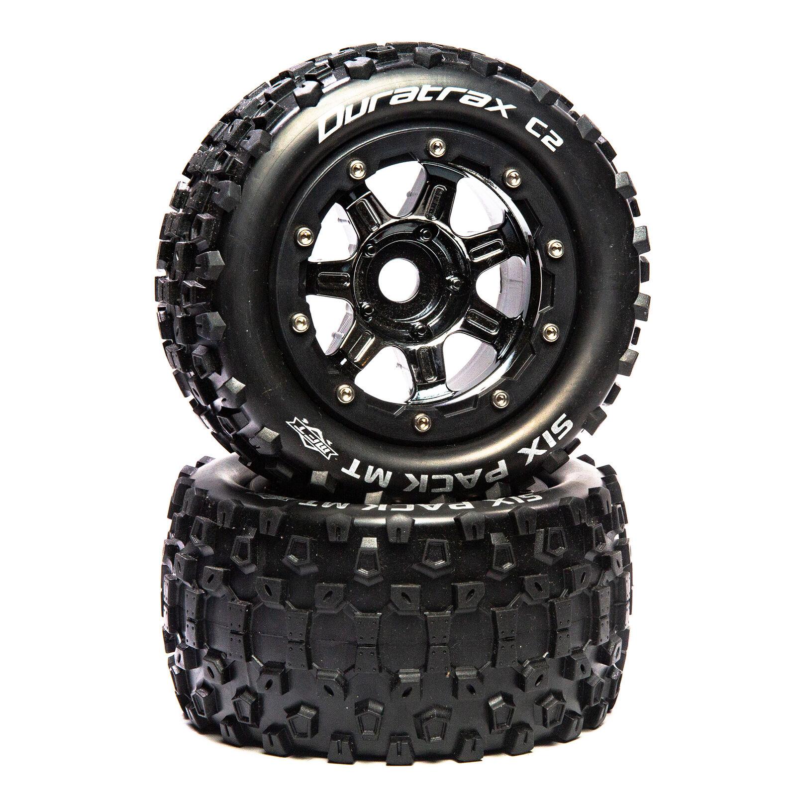 "SixPack MT Belt 2.8"" Mounted Front/Rear Tires .5 Offset 17mm, Black Chrome (2)"