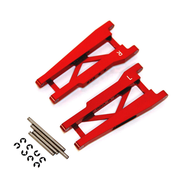 Aluminum Rear Suspension Arms with Hinge-Pins, Red: Stamped, Rustler