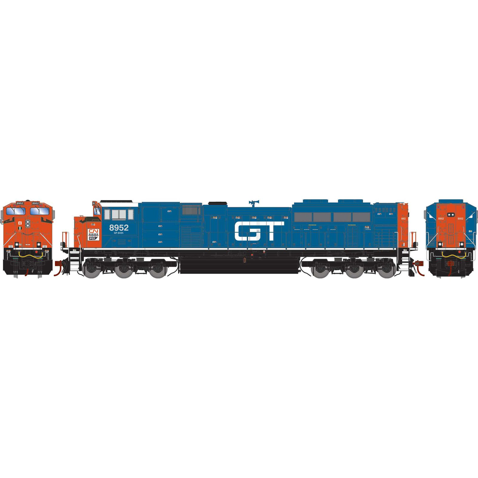 HO G2 SD70M-2 with DCC & Sound, CN/GT/Heritage #8952