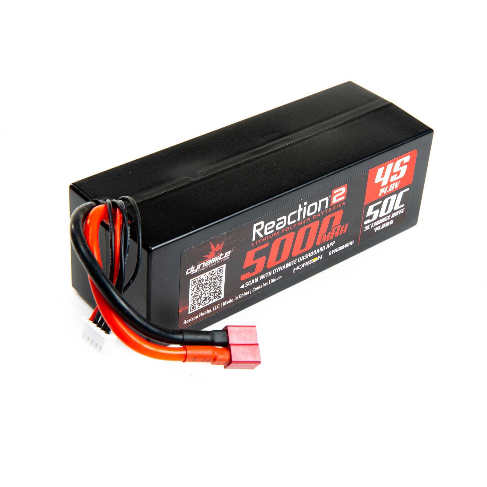 14.8V 5000mAh 4S 50C Reaction 2.0 Hardcase LiPo Battery: Deans