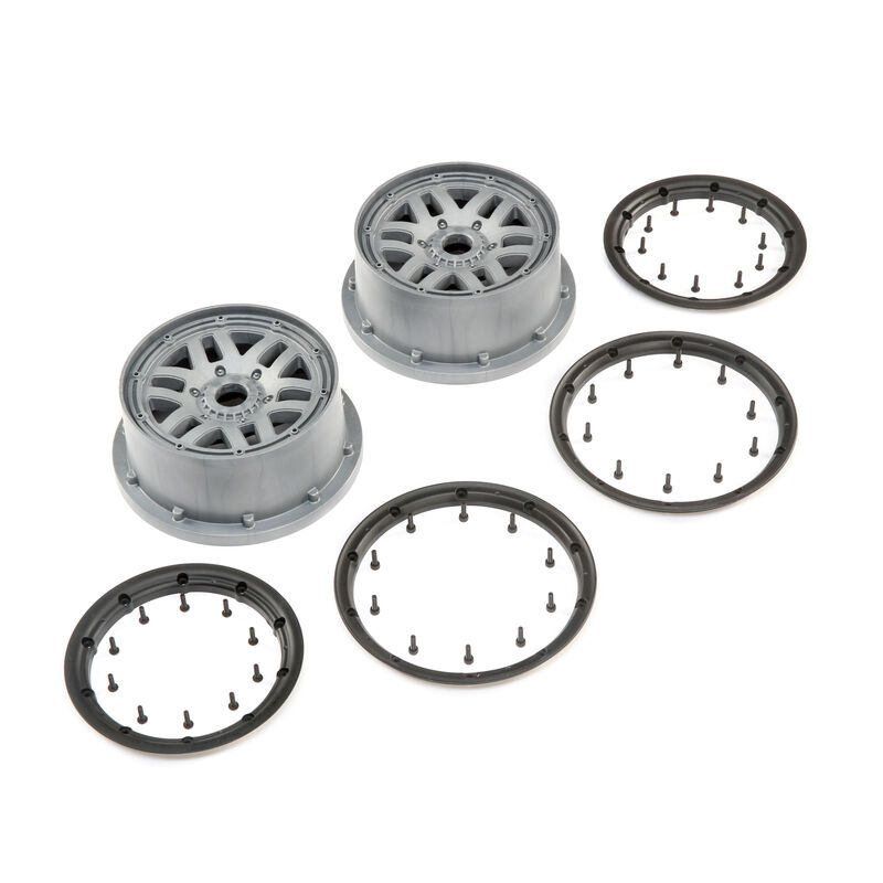 1/5 Front/Rear 4.75 Wheel and Beadlock Set, 24mm Hex, Grey (2): 5ive-T 2.0