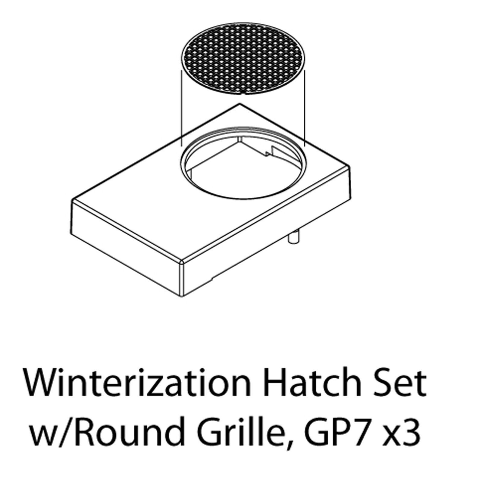HO Winterization Hatch Set with Round Grille, GP-7(3)