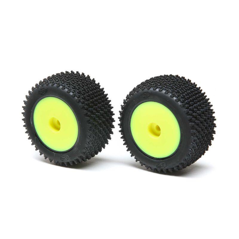 Step Pin Mounted Rear Tires, Yellow (2): Mini-T 2.0