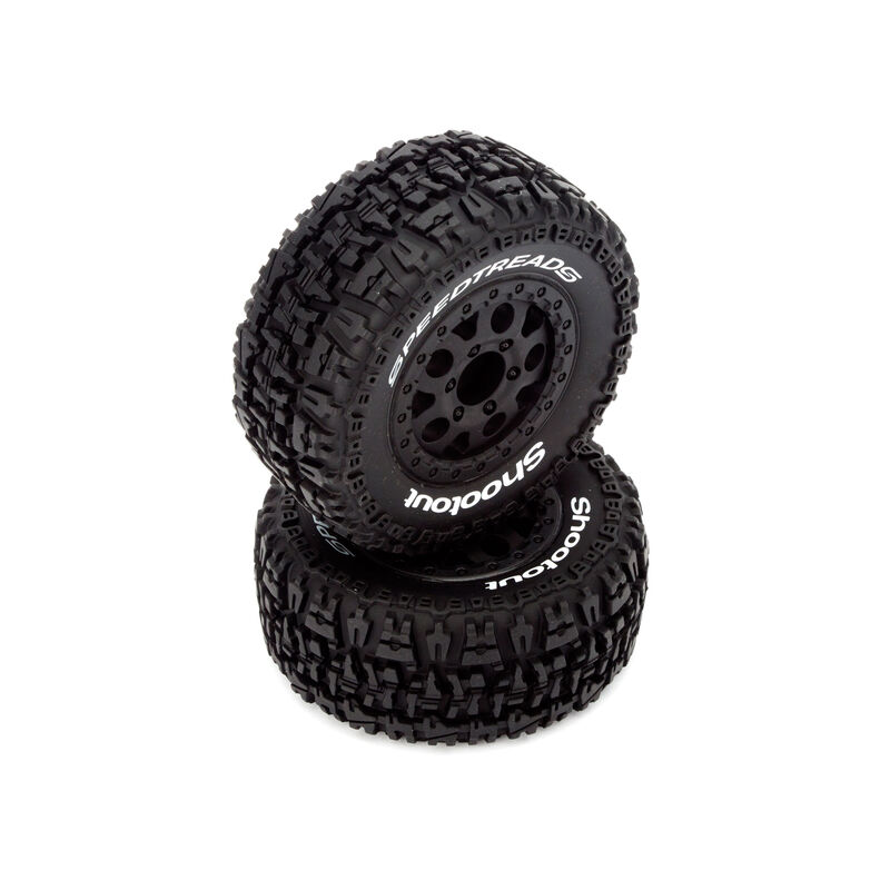 Front/Rear Wheel and Tire, Premount, Black (2): 1/10 2WD/4WD Torment