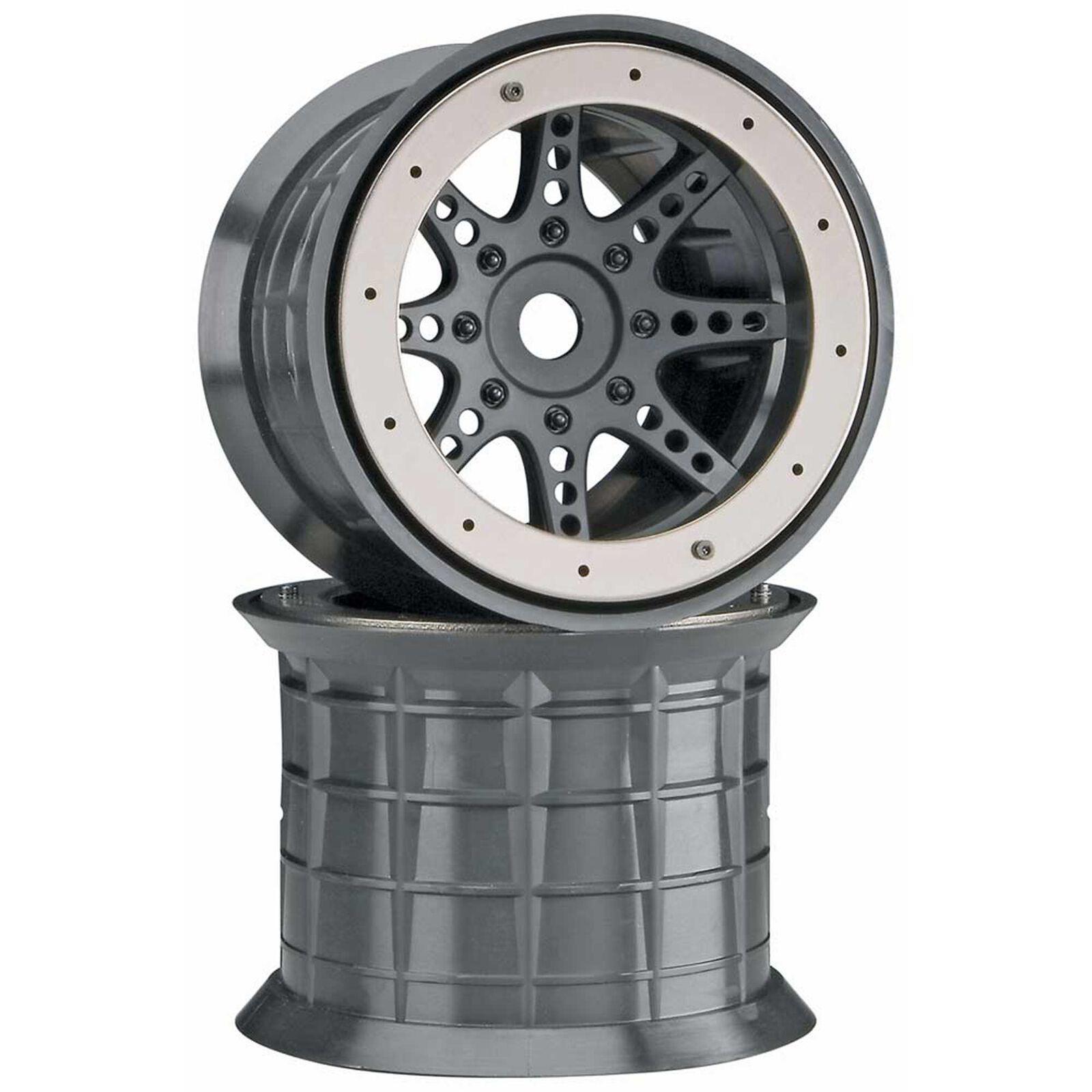 1/8 Oversize 8-Spoke 3.8 Beadlock Wheels, 17mm Hex, Black (2)