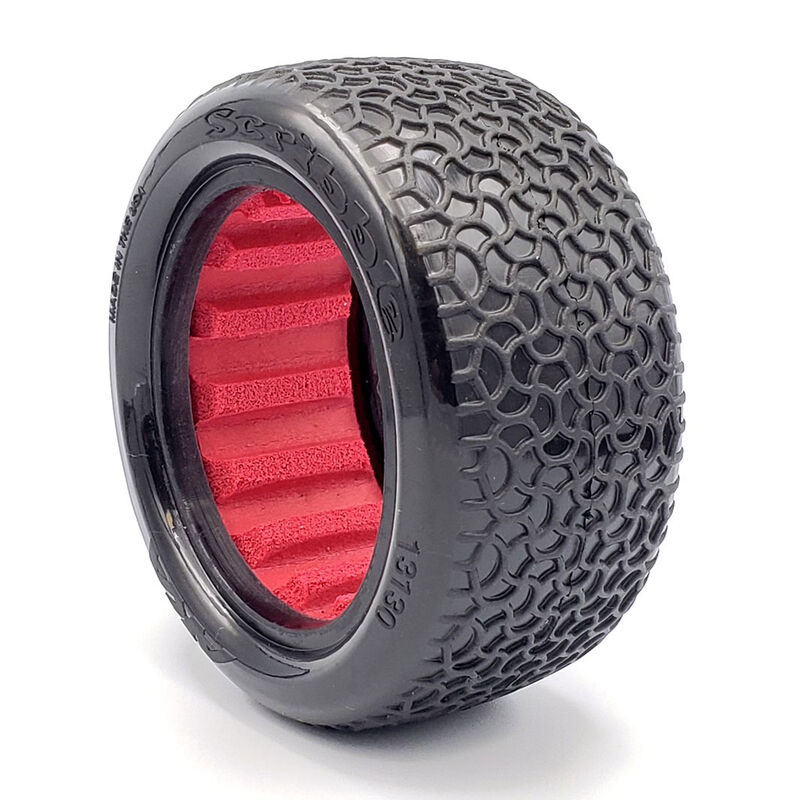 """Scribble 2.2"""" Clay Tires, Rear with Red Insert (2): 1/10 Buggy"""