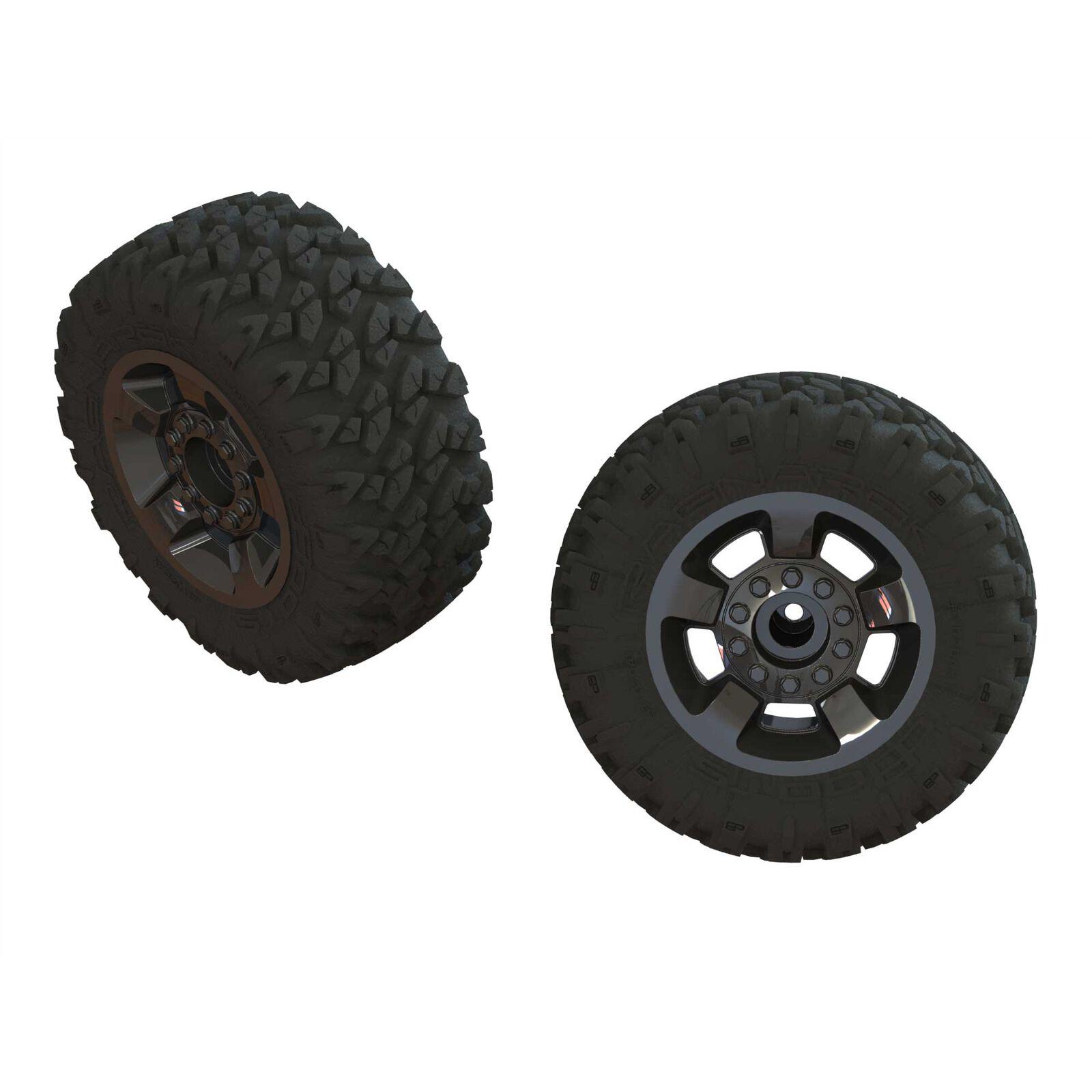 1/8 RAGNAROK MT Front/Rear 2.8 Pre-Mounted Tires, ST, 14mm Hex, Black Chrome (2)