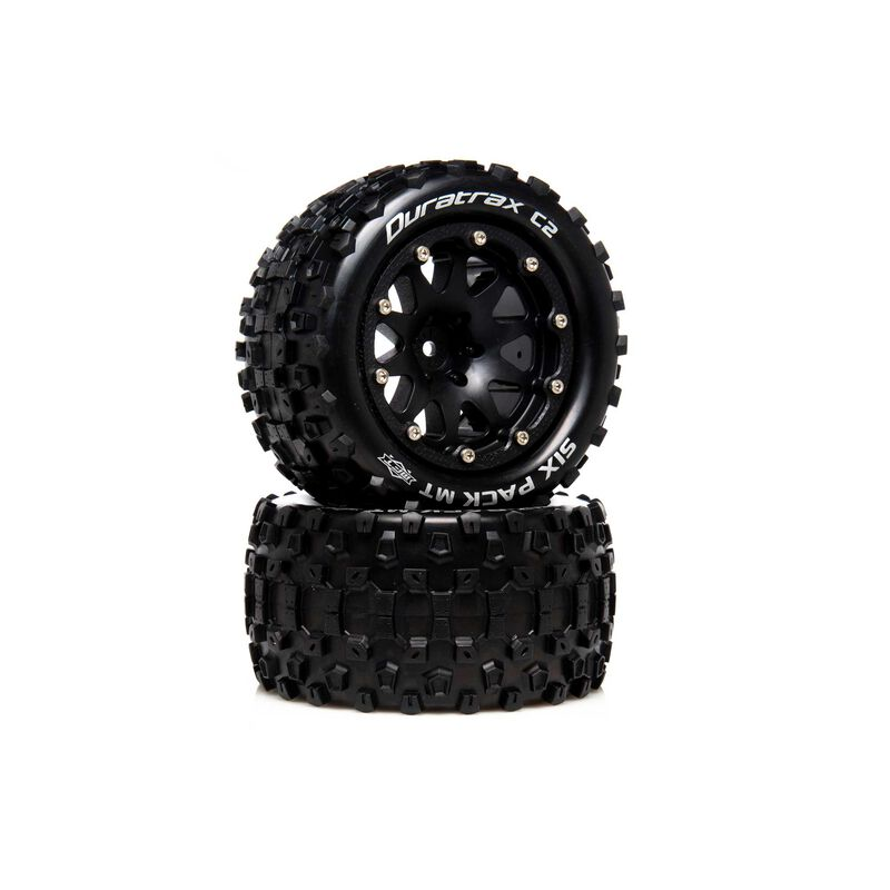"""Six Pack MT Belted 2.8"""" 2WD Mounted Rear Tires, .5 Offset, Black (2)"""