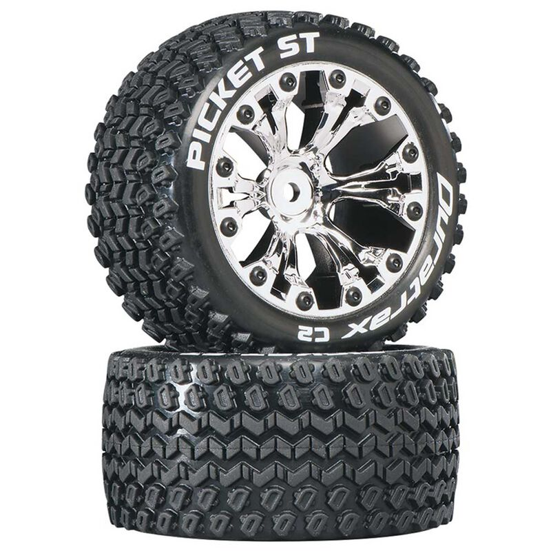 "Picket ST 2.8"" 2WD Mounted 1/2"" Offset Tires, Chrome (2)"