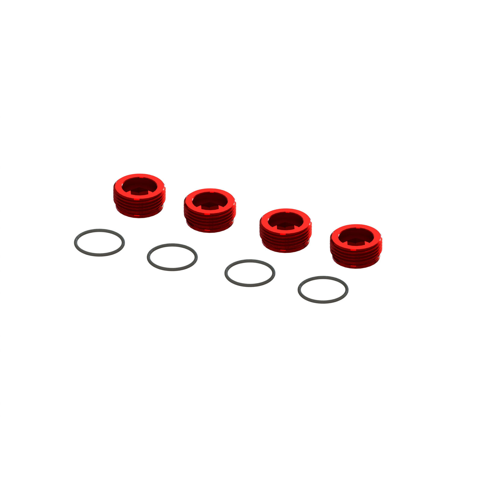 Aluminum Front Hub Nut Red (4) with O-Rings