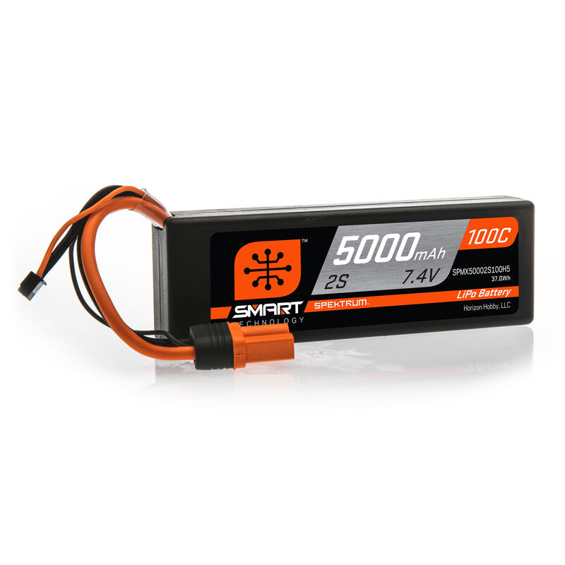 7.4V 5000mAh 2S 100C Smart Hardcase LiPo Battery: IC5