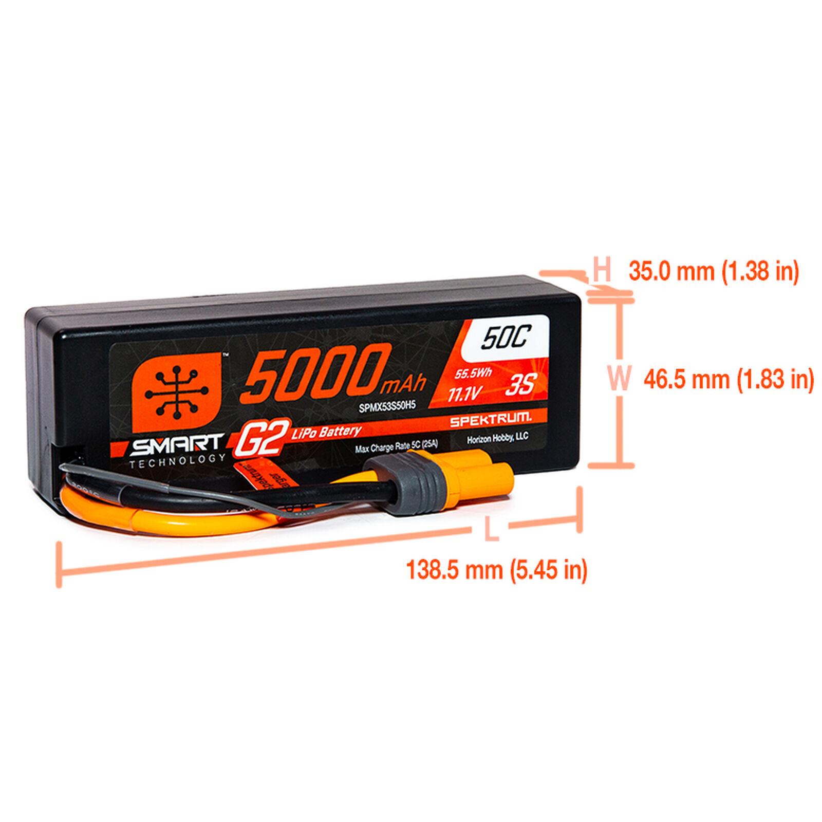 11.1V 5000mAh 3S 50C Smart G2 Hardcase LiPo Battery: IC5