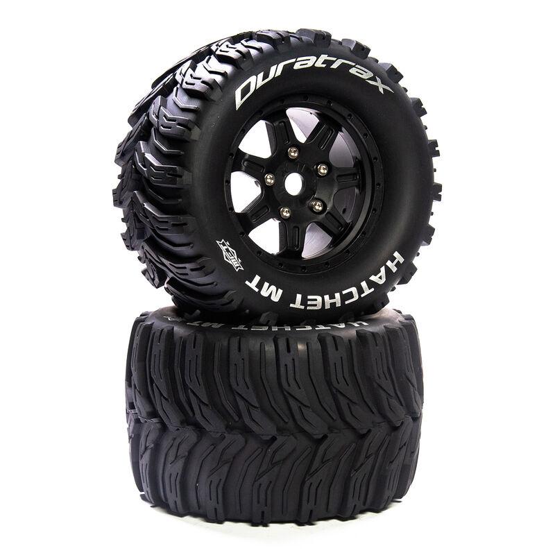"""Hatchet MT Belt 3.8"""" Mounted Front/Rear Tires 0 Offset 17mm, Black (2)"""