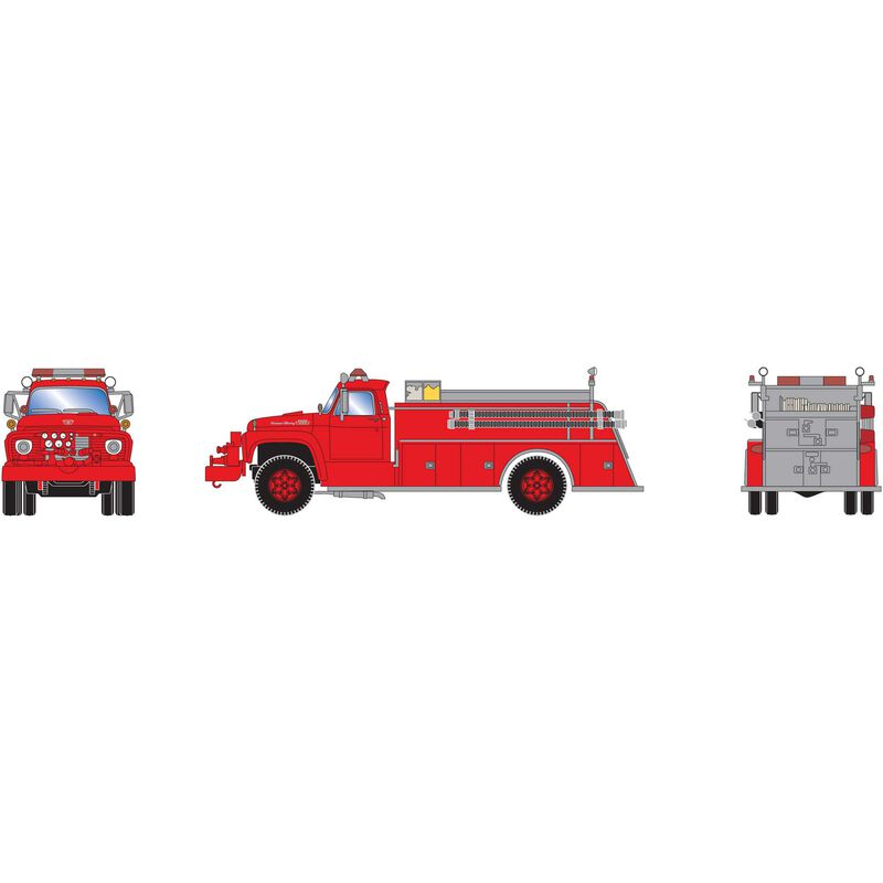 HO RTR Ford F-850 Fire Truck, Red