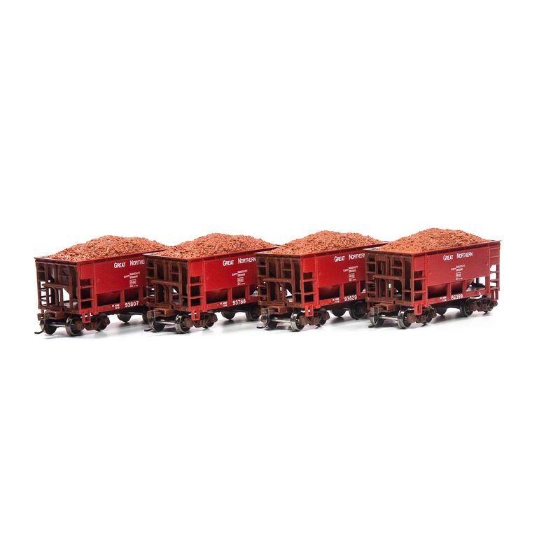HO 24' Ribbed Ore Car with Load GN Red #1 (4)