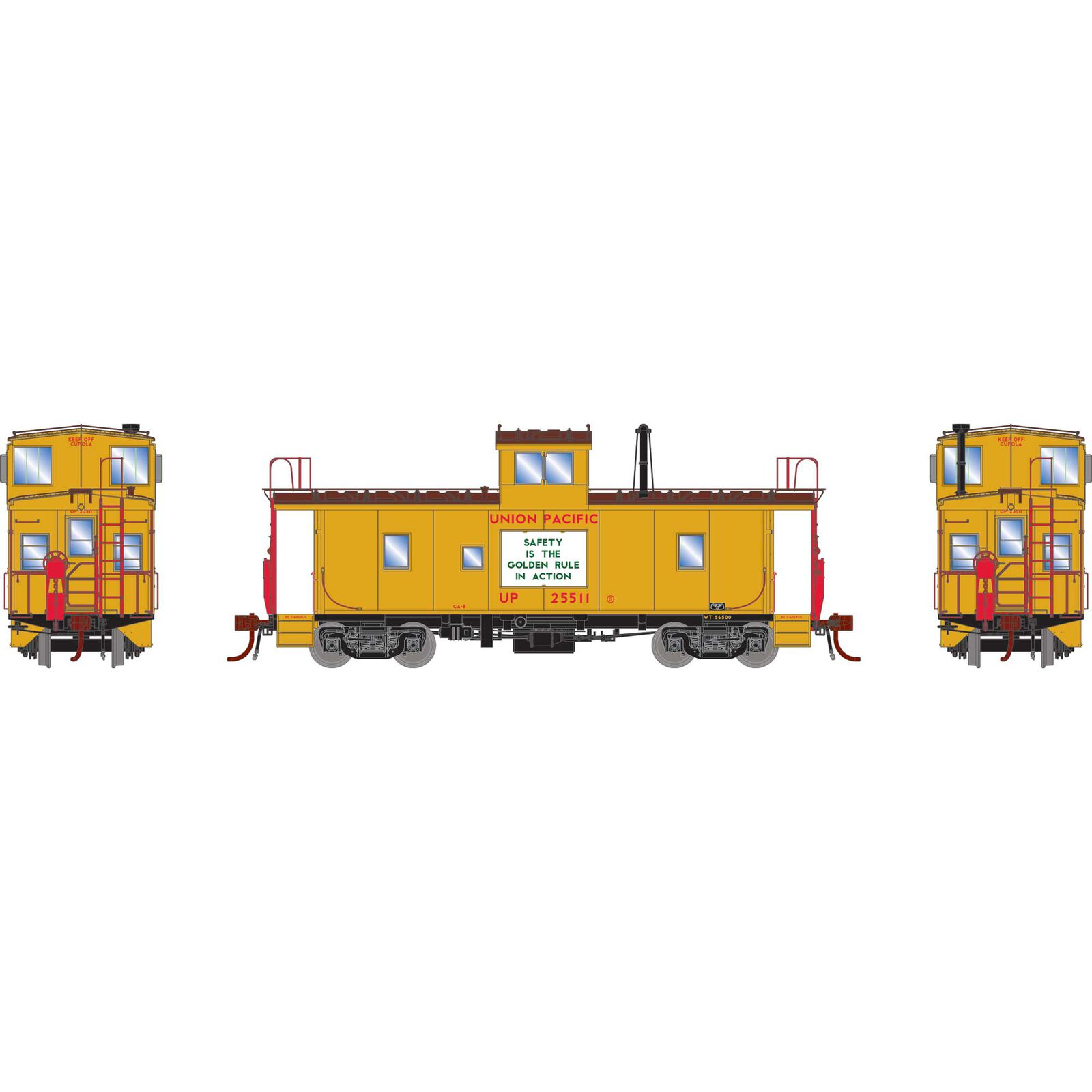 HO CA-8 Early Caboose with Lights UP #25511