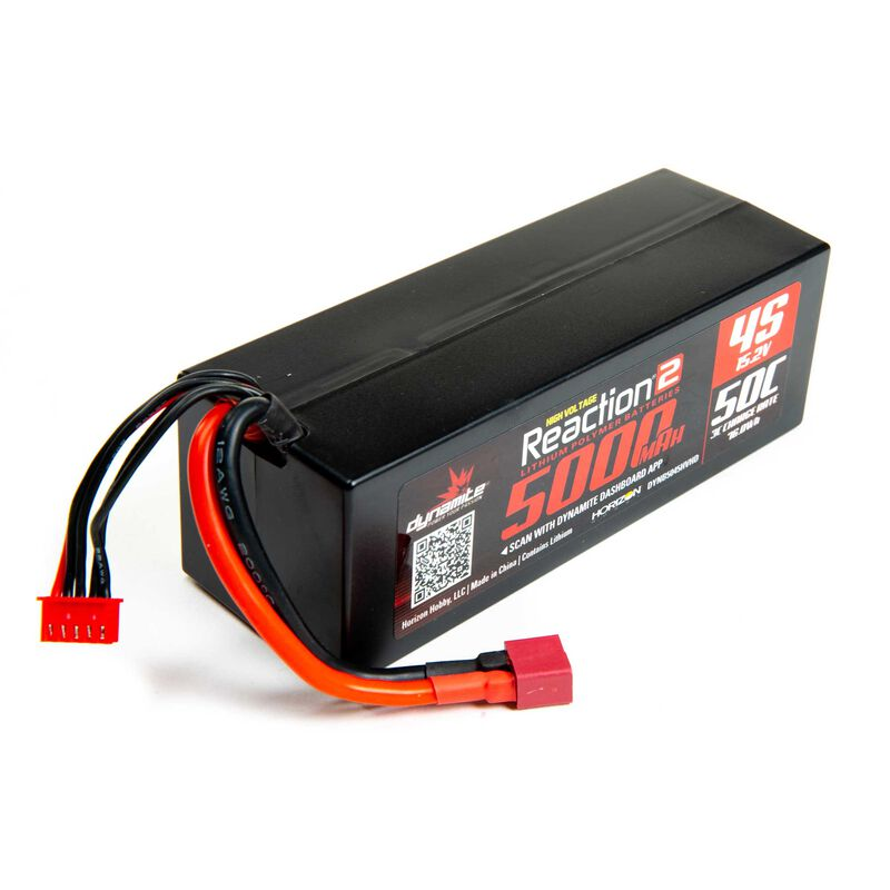 15.2V 5000mAh 4S 50C Reaction 2.0 Hardcase HV-LiPo Battery: Deans