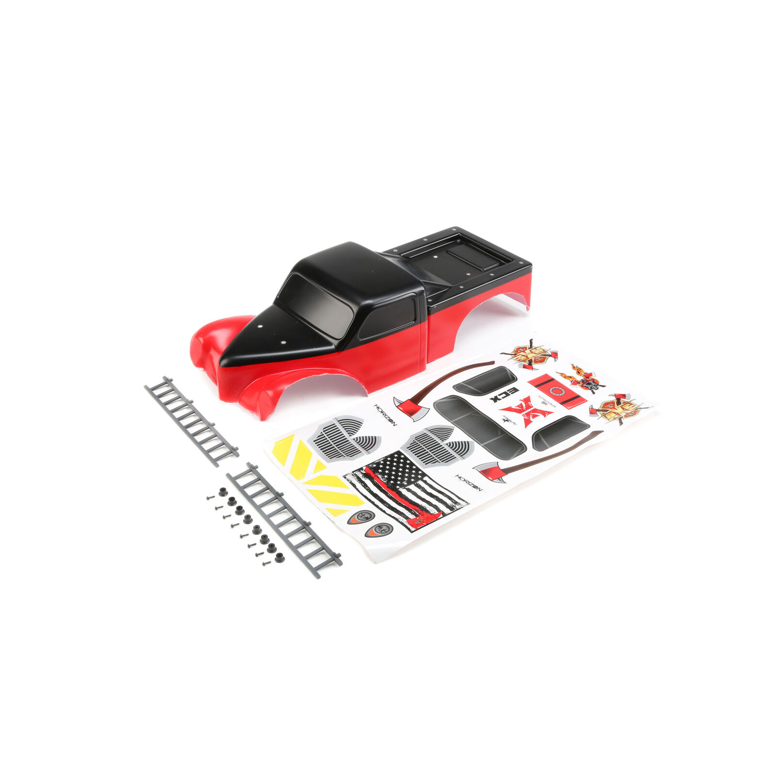 Body with Ladders, Red/Black: 1/10 2WD Axe MT