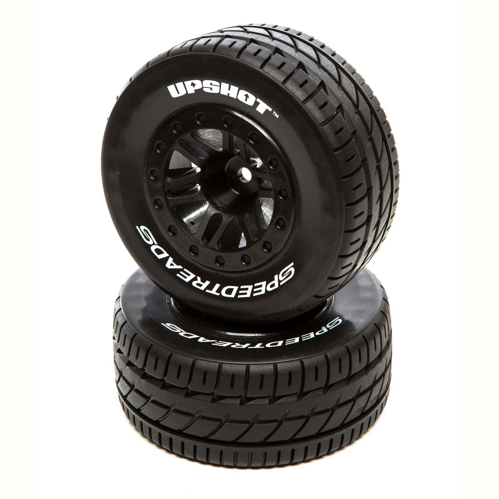 SpeedTreads Upshot SC Tire Front Black Mounted (2): Traxxas Slash