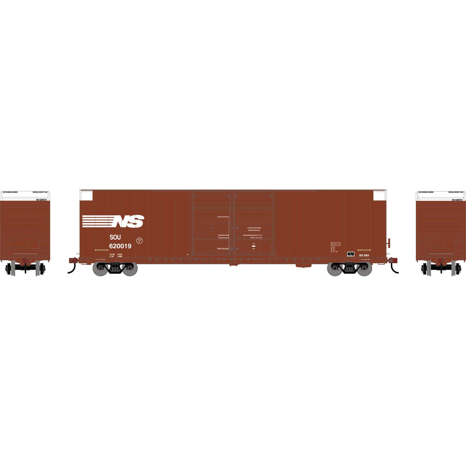 HO RTR FMC 60' DD/SS Hi-Cube Box, NS #620019