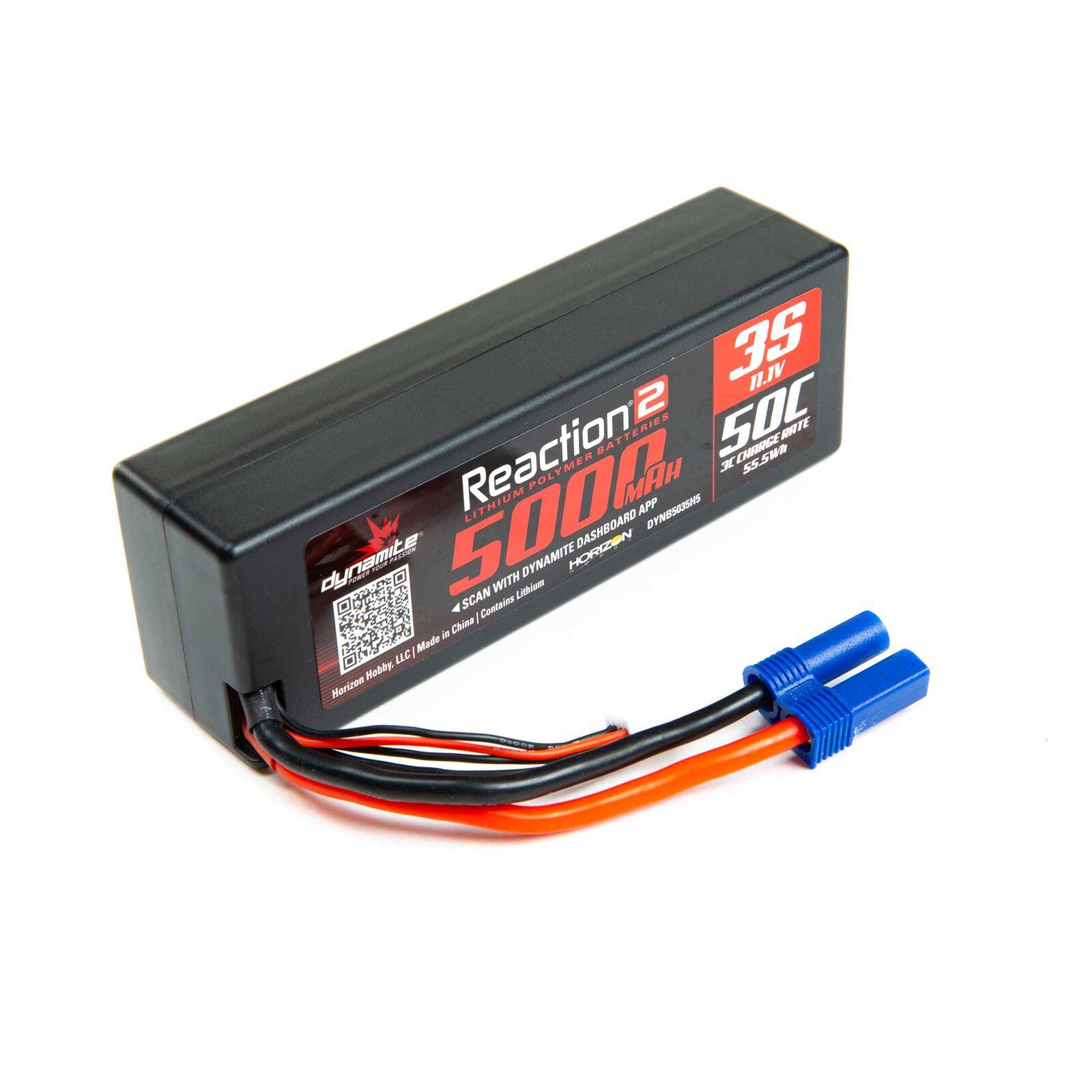 11.1V 5000mAh 3S 50C Reaction 2.0 Hardcase LiPo Battery: EC5