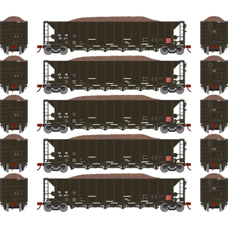 HO RTR 5-Bay Rapid Discharge Hopper CBNS (5)