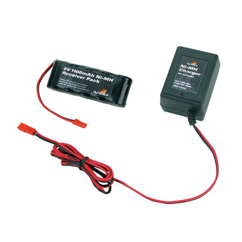 6V 1100mAh NiMH Receiver Flat Pack with Charger