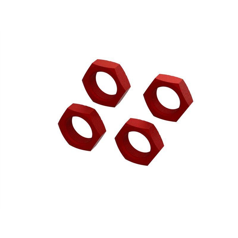 Aluminum Wheel Nut 24mm, Red (4)