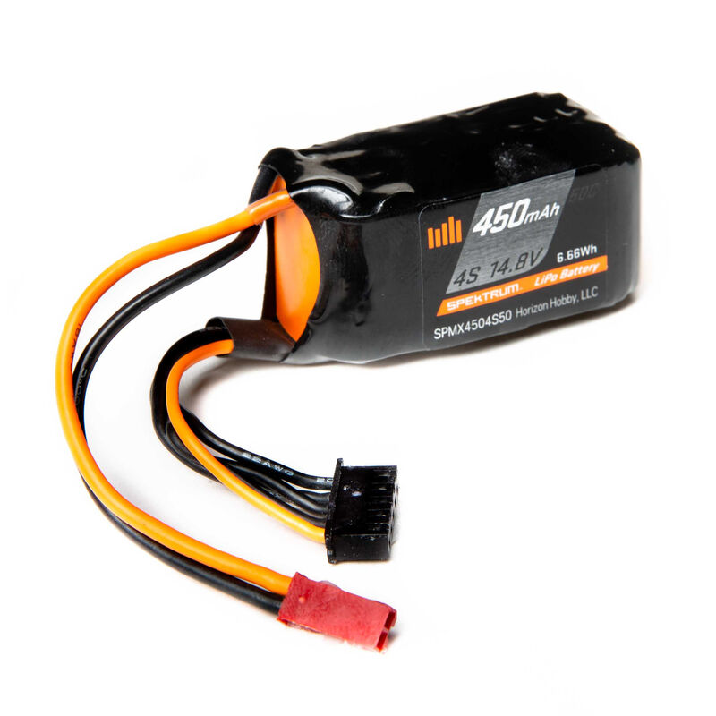 14.8V 450mAh 4S 50C LiPo Battery, JST