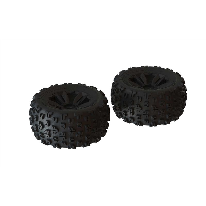 1/8 dBoots Copperhead2 MT Front/Rear 3.8 Pre-Mounted Tires, 17mm Hex, Black (2)