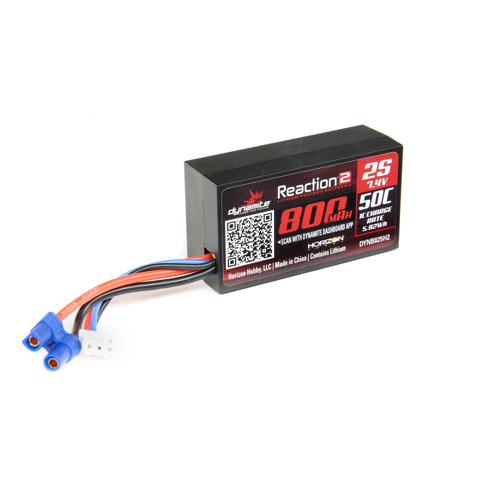 7.4V 800mAh 2S 50C Hardcase LiPo Battery  EC2