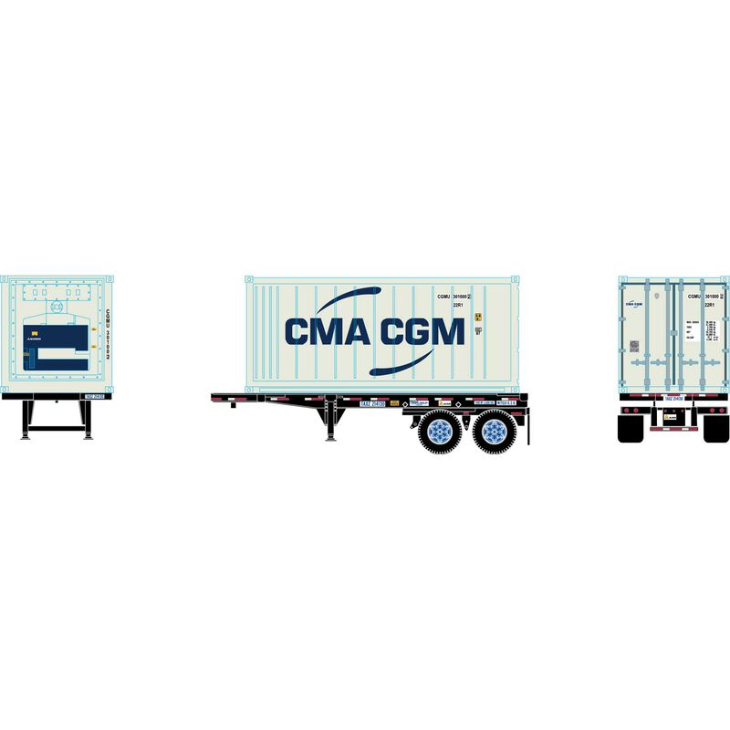 HO RTR 20' Chassis w Reefer Container CMA.CGM