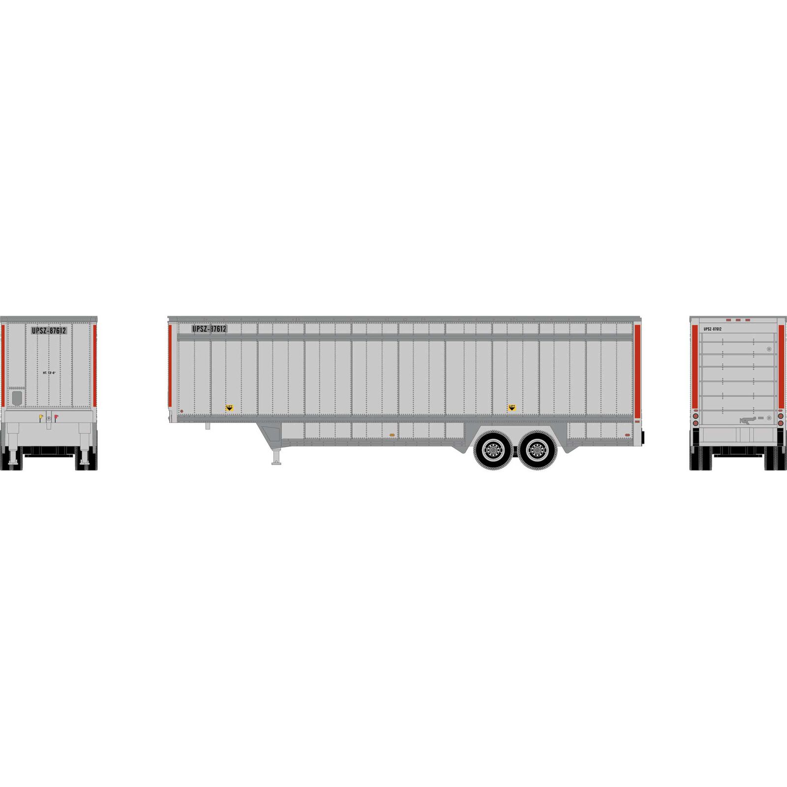 HO RTR 40' Drop Sill Parcel Trailer, UPS/Red #87612
