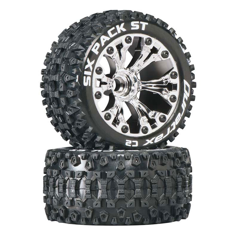 """Six Pack ST 2.8"""" 2WD Mounted Front C2 Tires, Chrome (2)"""
