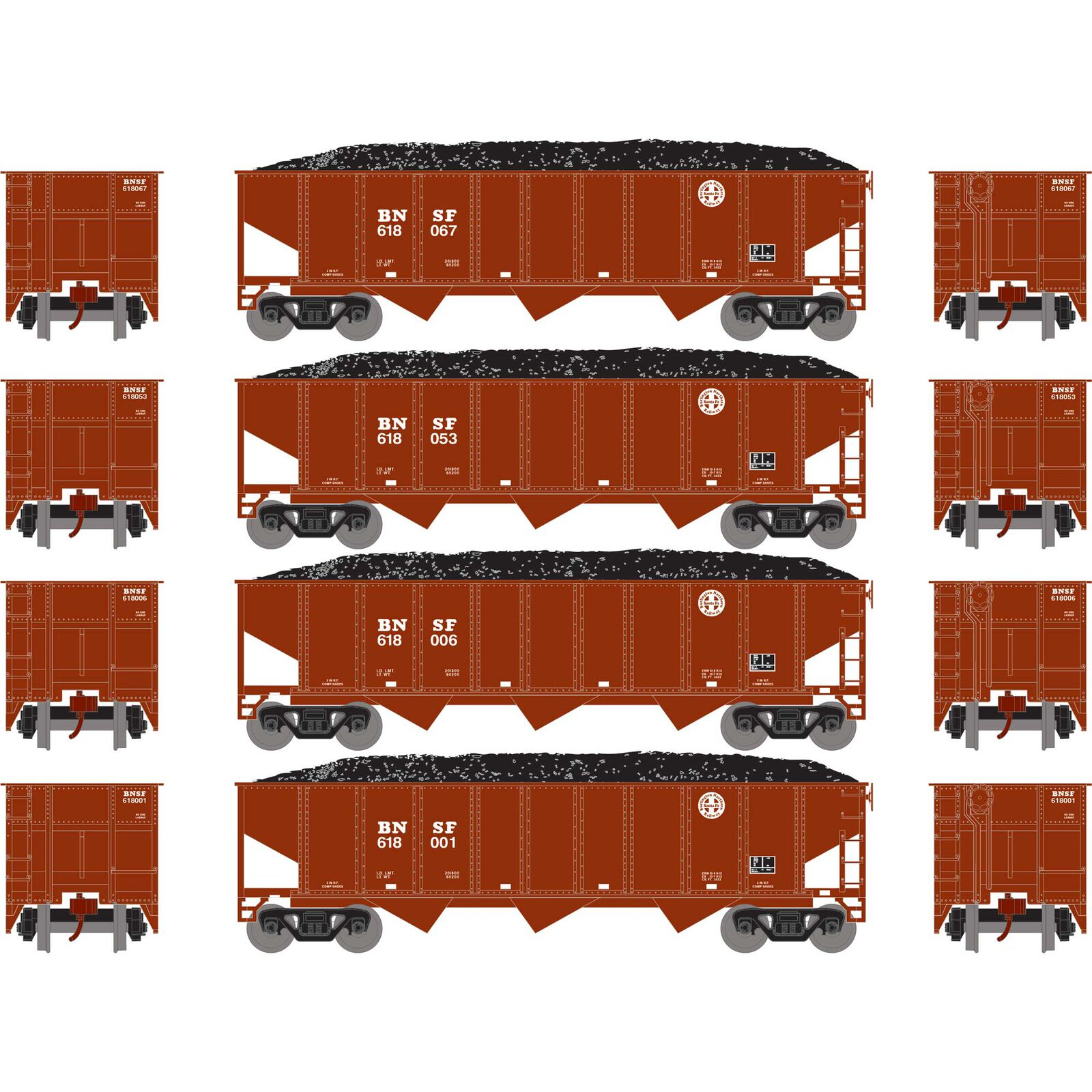 N 40' 3-Bay Ribbed Hopper with Load, BNSF #1 (4)