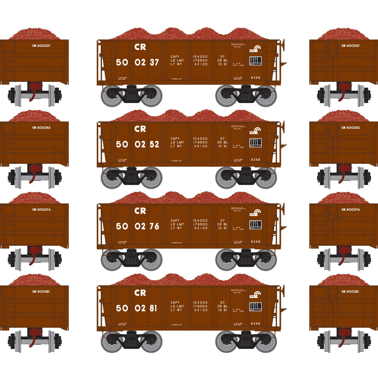HO RTR 26' Ore Car Low Side with Load, CR #3 (4)