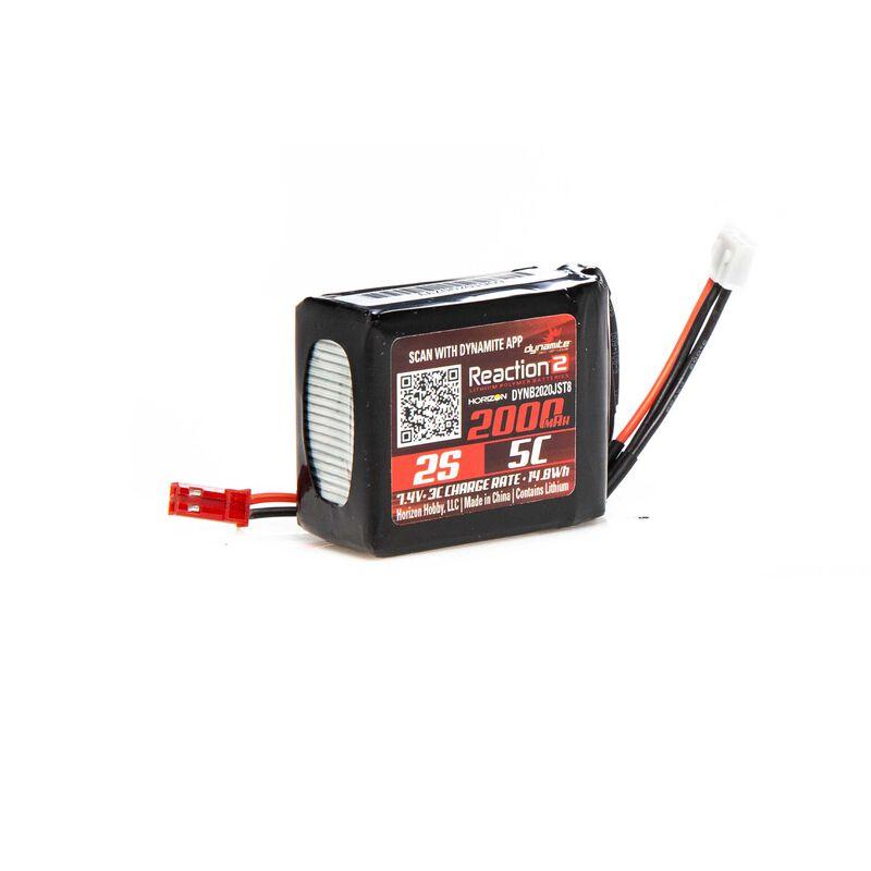 7.4V 2000mAh 2S 5C Reaction 2.0 LiPo Receiver Battery: JST