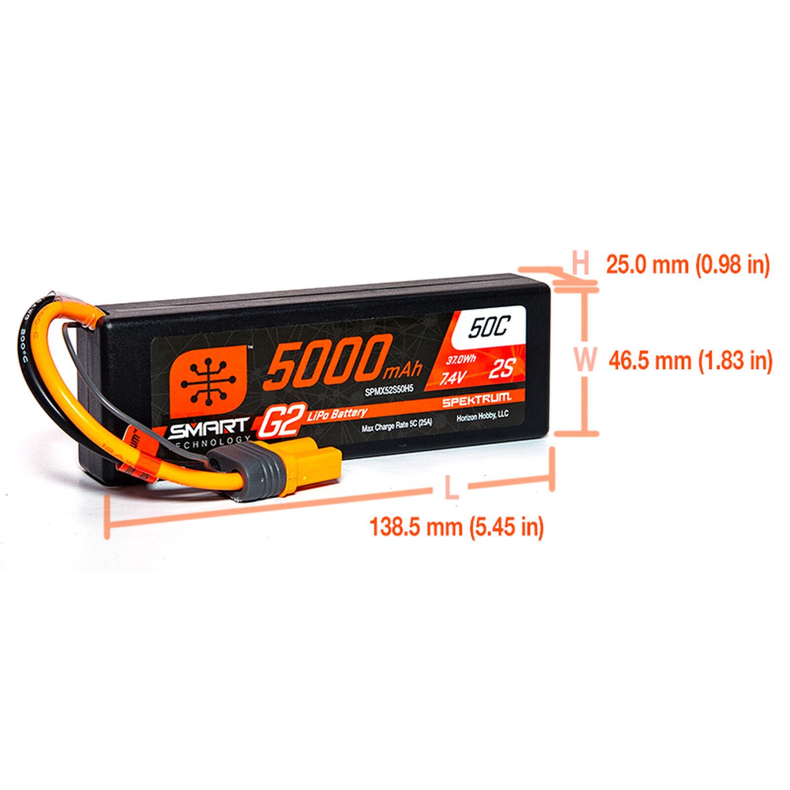7.4V 5000mAh 2S 50C Smart G2 Hardcase LiPo Battery: IC5