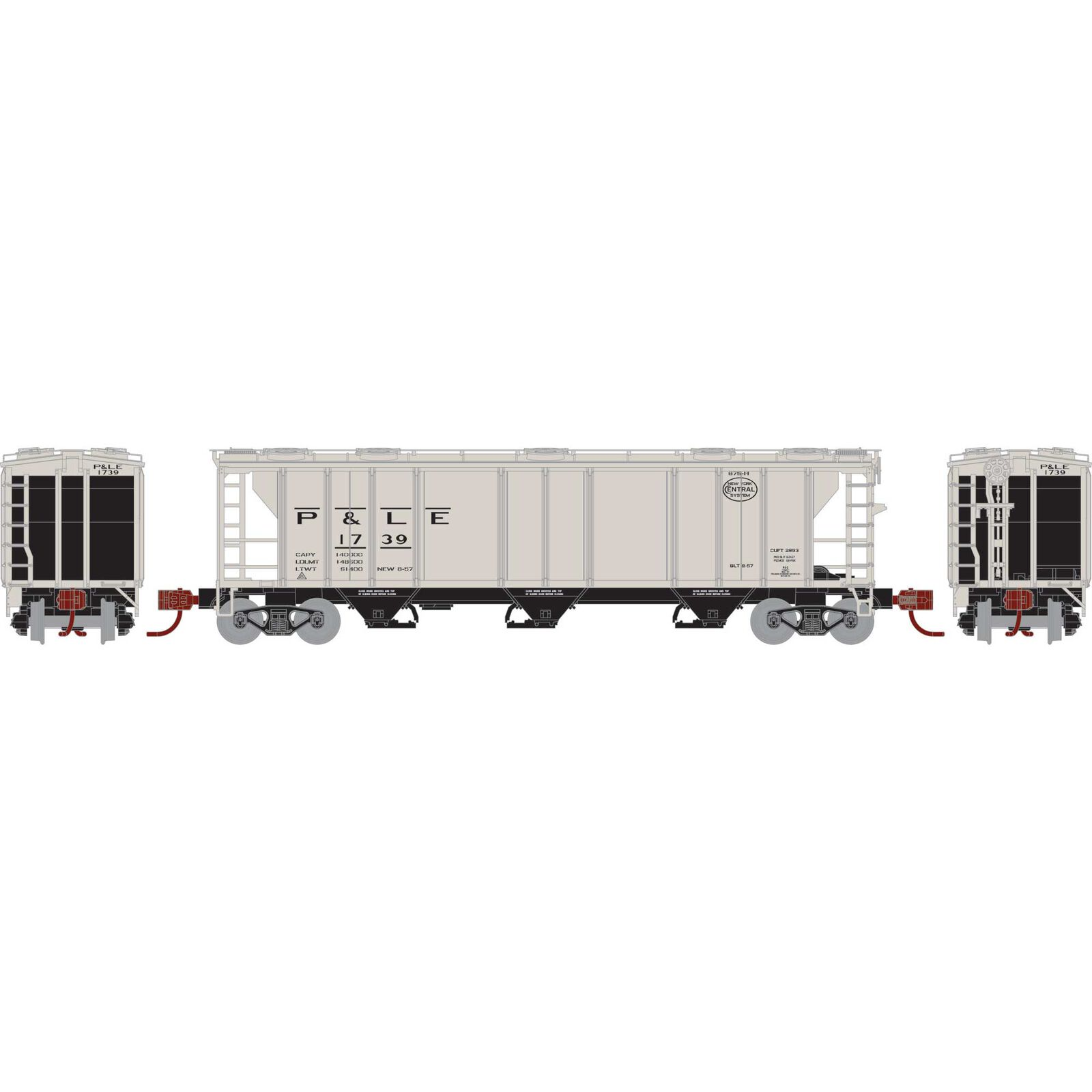 N PS-2 2893 3-Bay Covered Hopper, P&LE #1739