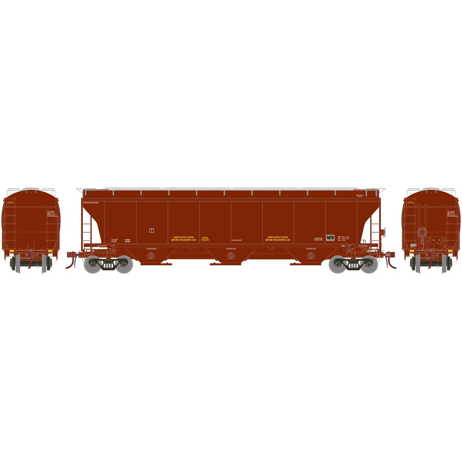 HO Trinity 3-Bay Hopper Data Only, Brown