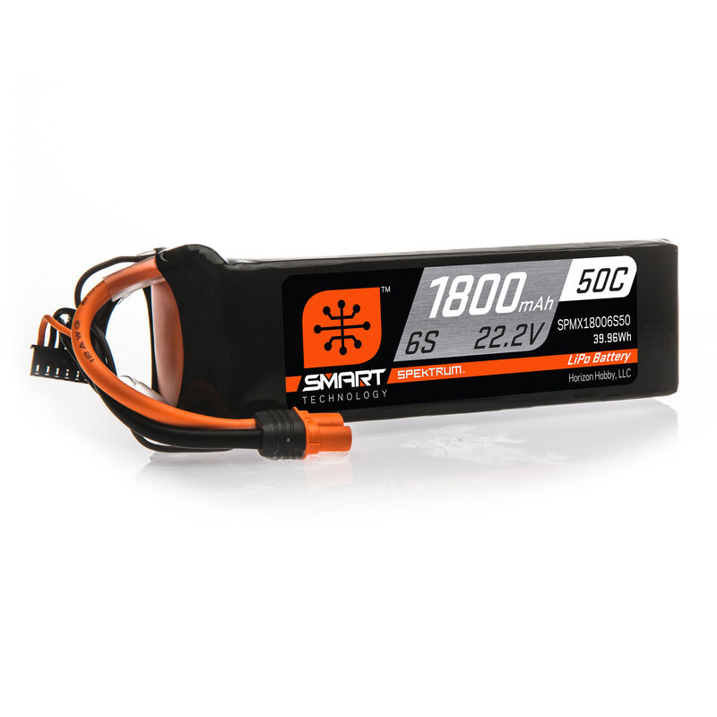 22.2V 1800mAh 6S 50C Smart LiPo Battery: IC3